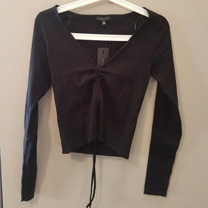 Black Cinched Long Sleeve Top